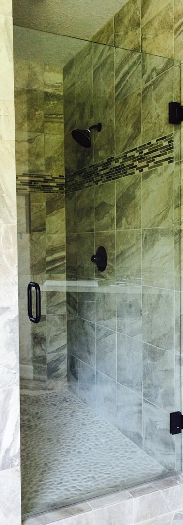 Single Frameless Shower Door, Bronze