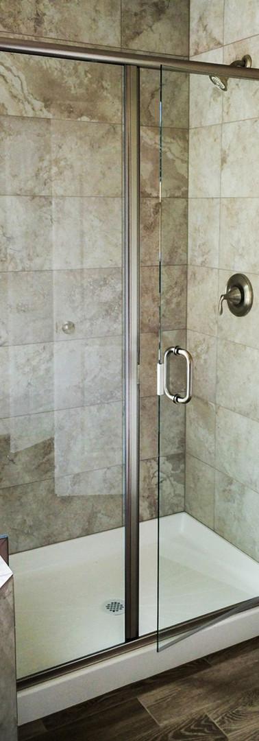 Semi-Frameless 3 Unit Shower-Brushed Nickel