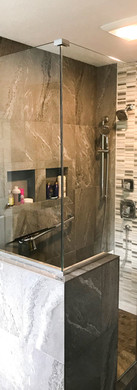 Frameless with Channel and Crescent Handle-Brushed Nickel