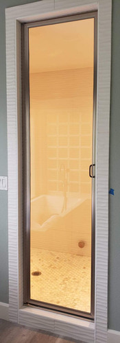 Full Height Framed Shower Door with Stirrup Handle