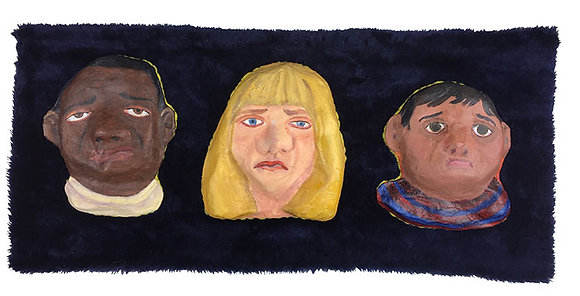 Faces on Navy Fur