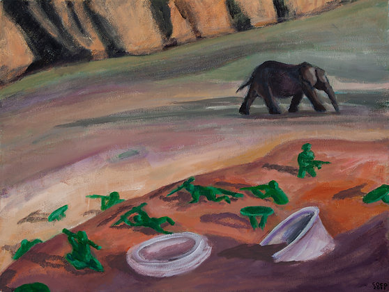 Elephant and Green Soldiers
