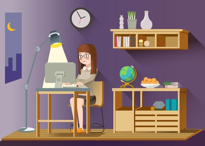 Woman working alone on computer