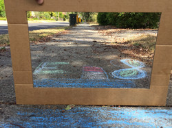 Chalk drawing with frame