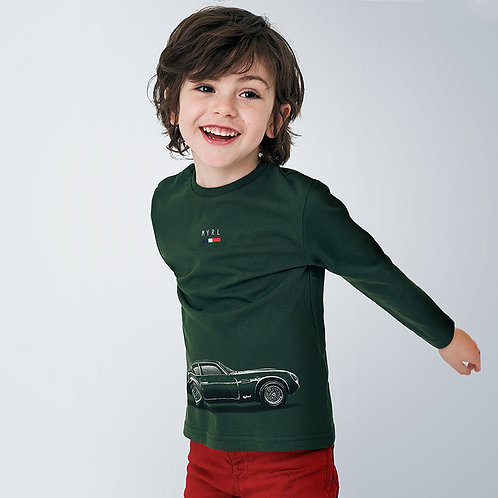 Camisola manga comprida carro menino
