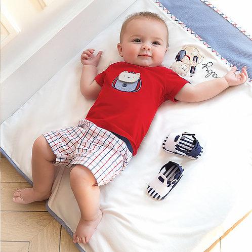 Conjunto camisola desenho e calção curto bebé recém nascido
