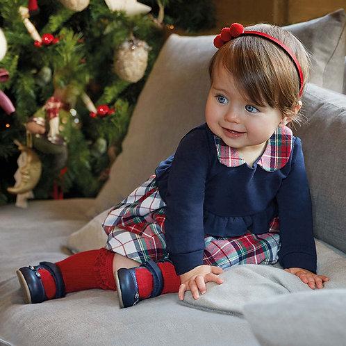 Vestido combinado quadrados bebé menina