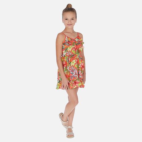 Vestido alças estampado flores menina