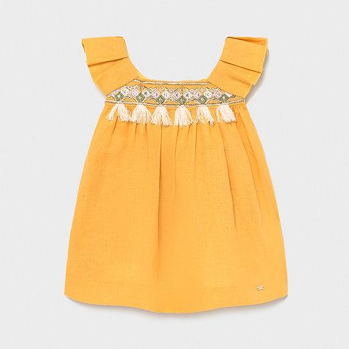 Vestido linho bordado bebé menina