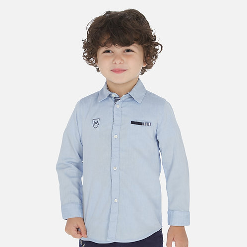 Camisa manga comprida clássica cotoveleiras menino