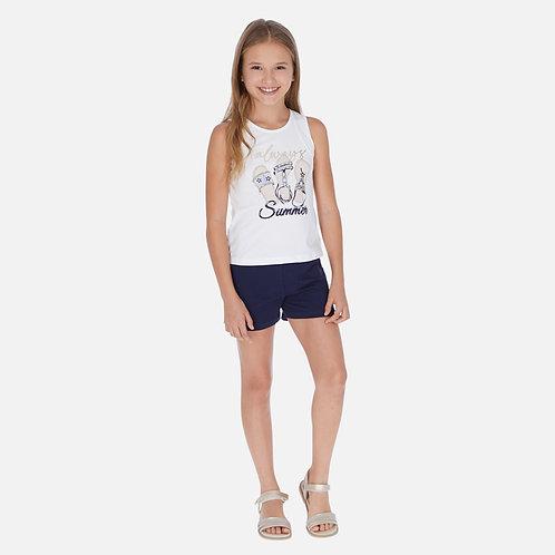 Conjunto camisola sandálias e calções menina