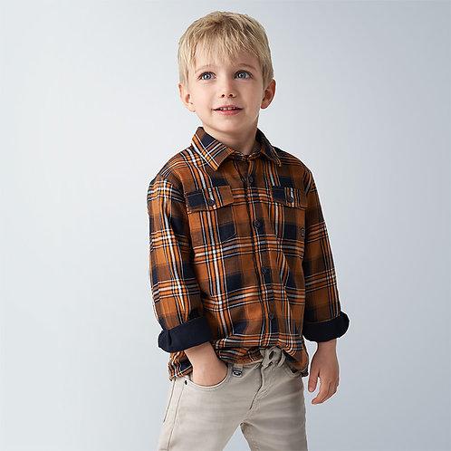 Sobre camisa sarja quadrados menino