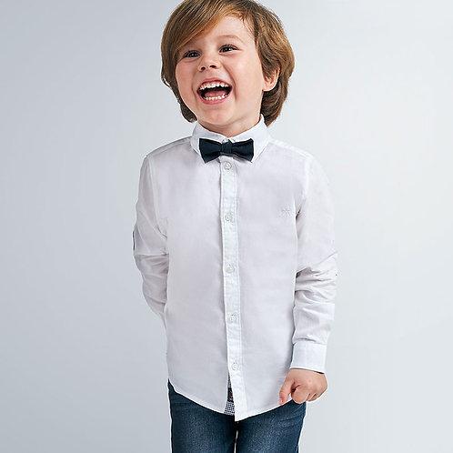 Camisa manga comprida lisa com laço menino