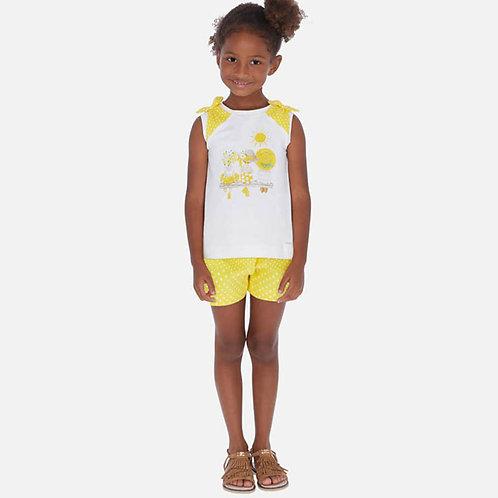 Conjunto camisola e calções bolinhas menina