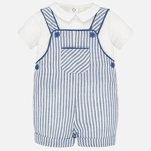 Conjunto camisa e jardineira  bebé recém nascido