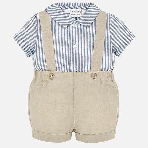 Conjunto camisa e calções suspensórios bebé recém nascido