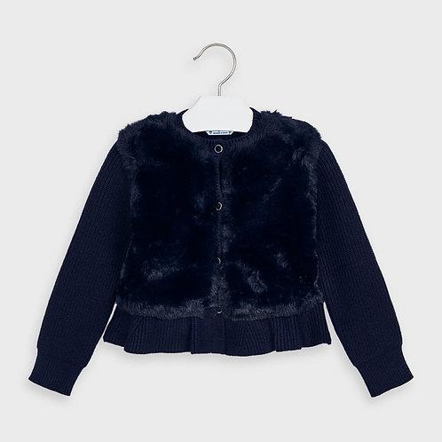 Jaqueta tricot pelo menina
