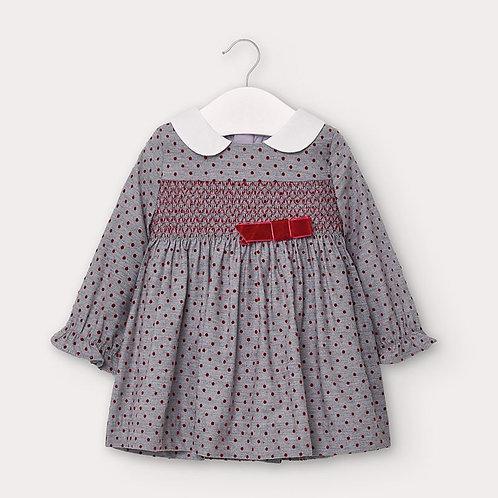 Vestido flanela bolinhas bebé menina