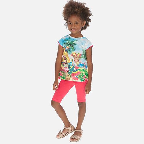 Conjunto camisola tropical e leggings curtos menina