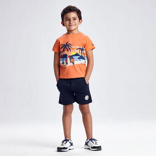Conjunto de malha 2 t-shirts e bermuda menino