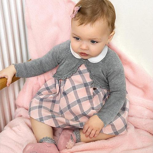 Vestido quadrados com gola recém nascido menina