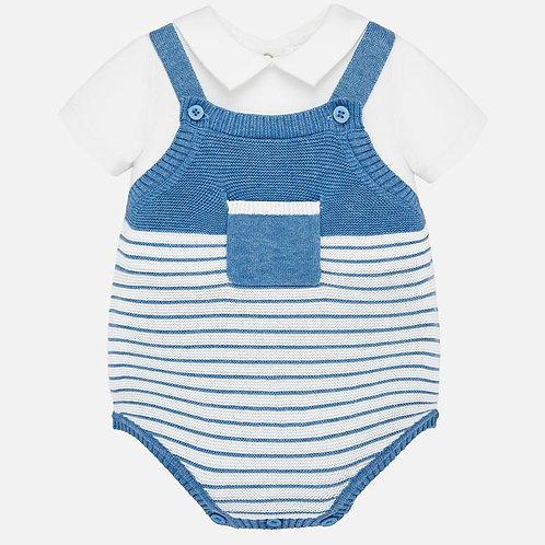 Conjunto camisola e fofo de riscas bebé recém nascido