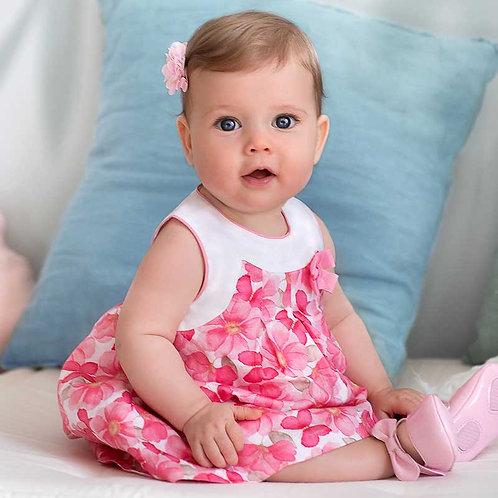 Vestido estampado com cuequinha bebé recém nascida