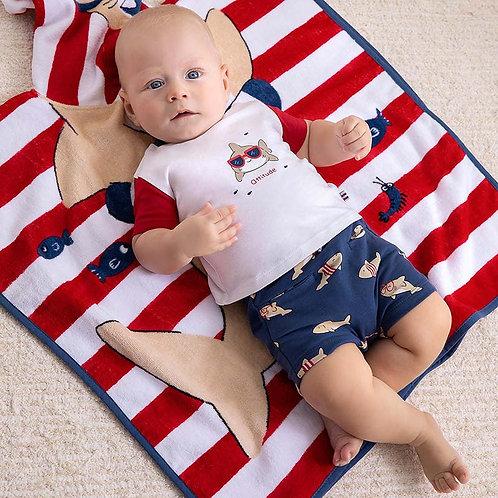 Conjunto calções estampado malha recém nascido menino