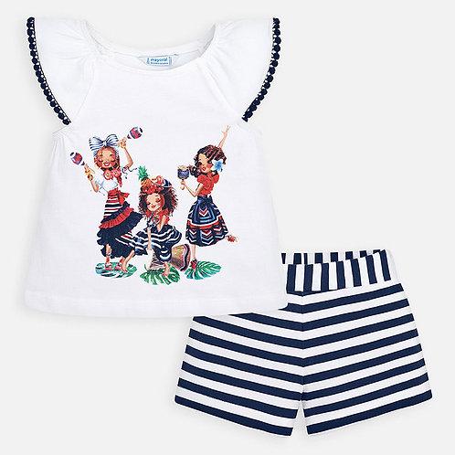 Conjunto camisola e calções menina