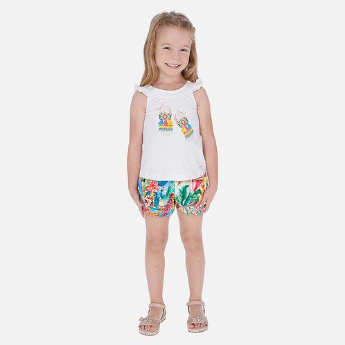 Conjunto camisola e calções estampados menina