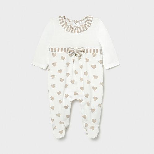 Pijama malha corações recém nascida menina
