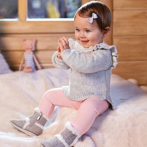 Calças compridas malha laços bebé menina
