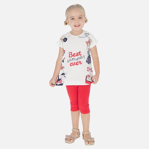 Conjunto camisola estampada e leggings menina