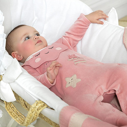 Pijama aveludado recém nascido menina