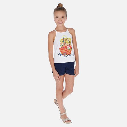 Conjunto camisola cestas e calções shorts menina