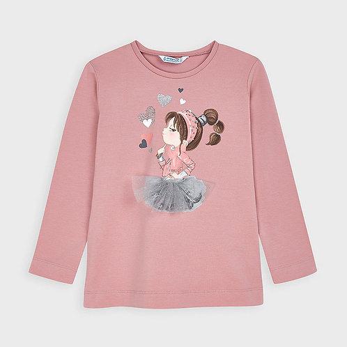 Camisola manga comprida desenho menina