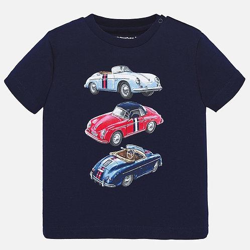 T-shirt manga curta carros bebé menino