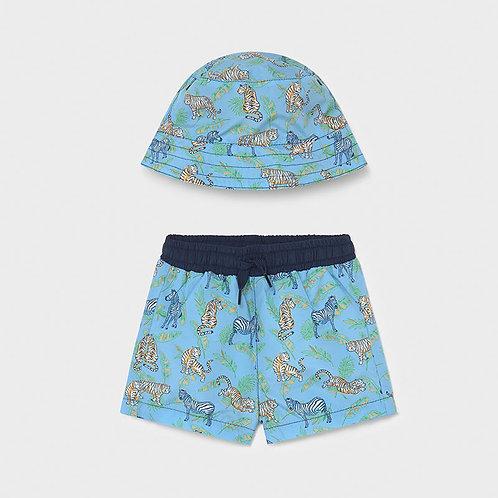 Conjunto calção e chapéu banho bebé menino