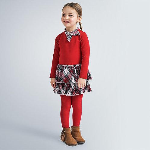 Vestido combinado quadrados menina