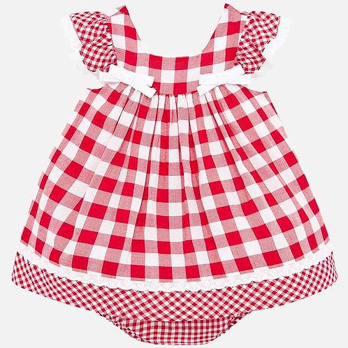 Vestido estampado quadrados cuequinha bebé recém nascida