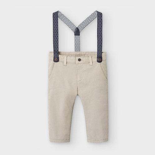 Calças compridas chino piqué alças bebé menino