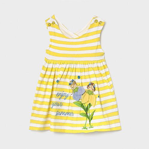 Vestido riscas e flores bebé menina