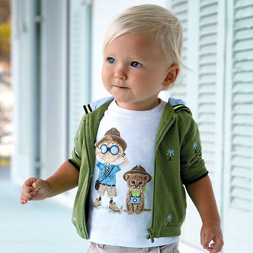 Camisola manga curta explorador bebé menino