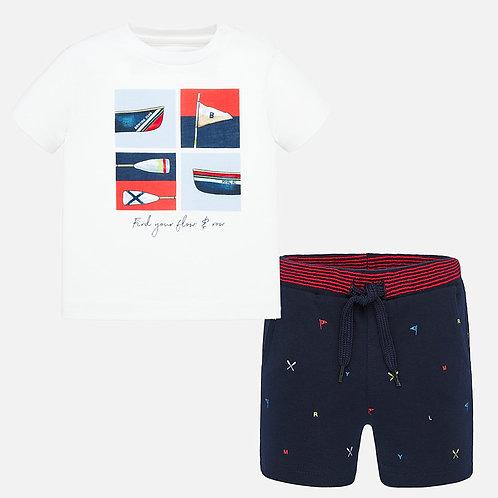 Conjunto camisola e calções estampados bebé menino