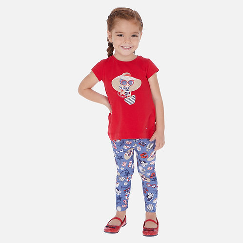 Conjunto camisola e leggings estampados menina