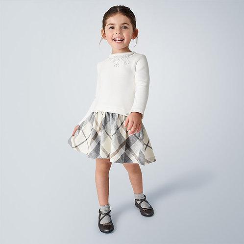 Vestido combinada quadrados menina