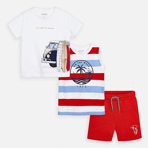 Conjunto t-shirts e bermudas menino