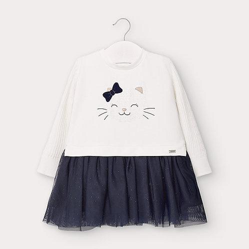 Vestido combinado tule bebé menina
