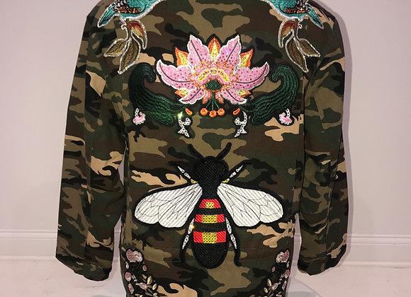 Ladies, L/S Camo Jacket, designer patches trim