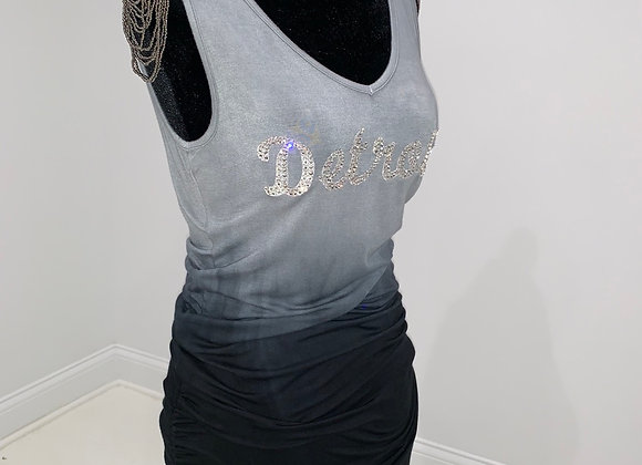 DETROIT, Gray Ombre, Tunic Tank Top, Swarovski Crystals